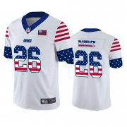Wholesale Cheap New York Giants #26 Saquon Barkley White Men's Nike Team Logo USA Flag Vapor Untouchable Limited NFL Jersey