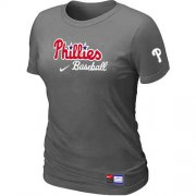Wholesale Cheap Women's Philadelphia Phillies Nike Short Sleeve Practice MLB T-Shirt Crow Grey