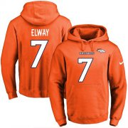 Wholesale Cheap Nike Broncos #7 John Elway Orange Name & Number Pullover NFL Hoodie
