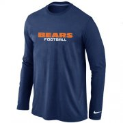 Wholesale Cheap Nike Chicago Bears Authentic Font Long Sleeve T-Shirt Dark Blue