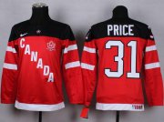 Wholesale Cheap Team Canada #31 Carey Price Red 100th Anniversary Stitched Youth NHL Jersey