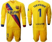 Wholesale Cheap Barcelona #1 Ter Stegen Away Long Sleeves Soccer Club Jersey