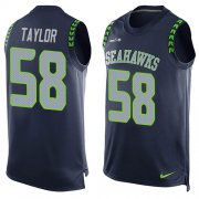 Wholesale Cheap Nike Seahawks #58 Darrell Taylor Steel Blue Team Color Men's Stitched NFL Limited Tank Top Jersey
