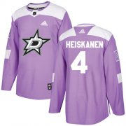 Wholesale Cheap Adidas Stars #4 Miro Heiskanen Purple Authentic Fights Cancer Youth Stitched NHL Jersey