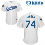 Wholesale Cheap Dodgers #74 Kenley Jansen White Cool Base 2018 World Series Stitched Youth MLB Jersey