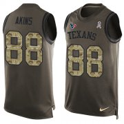 Wholesale Cheap Nike Texans #88 Jordan Akins Green Men's Stitched NFL Limited Salute To Service Tank Top Jersey