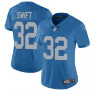 Wholesale Cheap Nike Lions #32 D'Andre Swift Blue Throwback Women's Stitched NFL Vapor Untouchable Limited Jersey