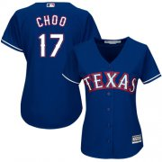 Wholesale Cheap Rangers #17 Shin-Soo Choo Blue Alternate Women's Stitched MLB Jersey