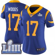 Wholesale Cheap Nike Rams #17 Robert Woods Royal Blue Alternate Super Bowl LIII Bound Women's Stitched NFL Vapor Untouchable Limited Jersey