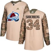 Wholesale Cheap Adidas Avalanche #34 Carl Soderberg Camo Authentic 2017 Veterans Day Stitched NHL Jersey