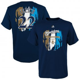 Wholesale Cheap Milwaukee Brewers #22 Christian Yelich Majestic Youth 2019 Spring Training Name & Number V-Neck T-Shirt Navy