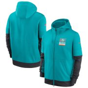 Wholesale Cheap Miami Dolphins Nike Sideline Impact Lockup Performance Full-Zip Hoodie Aqua