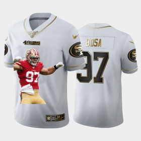 Cheap San Francisco 49ers #97 Nick Bosa Nike Team Hero 1 Vapor Limited NFL 100 Jersey White Golden