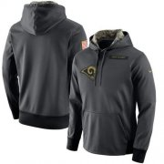 Wholesale Cheap Men's Los Angeles Rams Nike Anthracite Salute to Service Player Performance Hoodie