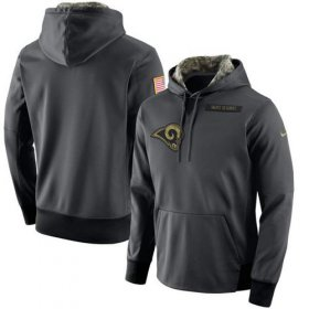 Wholesale Cheap Men\'s Los Angeles Rams Nike Anthracite Salute to Service Player Performance Hoodie