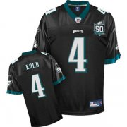 Wholesale Cheap Eagles Kevin Kolb #4 Black Team 50TH Anniversary Patch Stitched NFL Jersey