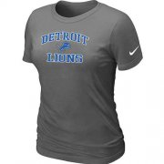 Wholesale Cheap Women's Nike Detroit Lions Heart & Soul NFL T-Shirt Dark Grey