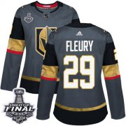 Wholesale Cheap Adidas Golden Knights #29 Marc-Andre Fleury Grey Home Authentic 2018 Stanley Cup Final Women's Stitched NHL Jersey