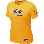 Wholesale Cheap Women's New York Mets Nike Short Sleeve Practice MLB T-Shirt Yellow