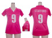 Wholesale Cheap Nike Lions #9 Matthew Stafford Pink Draft Him Name & Number Top Women's Stitched NFL Elite Jersey