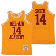 Wholesale Cheap Men's The Movie Bel Air Academy #14 Will Smith Yellow With Red Name Swingman Basketball Jersey