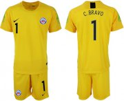 Wholesale Cheap Chile #1 C.Bravo Yellow Goalkeeper Soccer Country Jersey
