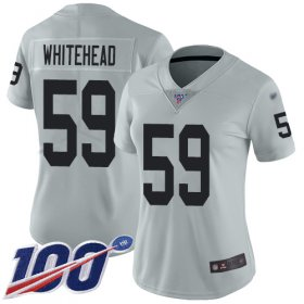 Wholesale Cheap Nike Raiders #59 Tahir Whitehead Silver Women\'s Stitched NFL Limited Inverted Legend 100th Season Jersey