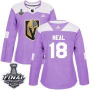 Wholesale Cheap Adidas Golden Knights #18 James Neal Purple Authentic Fights Cancer 2018 Stanley Cup Final Women's Stitched NHL Jersey