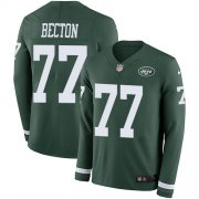Wholesale Cheap Nike Jets #77 Mekhi Becton Green Team Color Men's Stitched NFL Limited Therma Long Sleeve Jersey