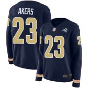 Wholesale Cheap Nike Rams #23 Cam Akers Navy Blue Team Color Women's Stitched NFL Limited Therma Long Sleeve Jersey