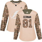 Cheap Adidas Lightning #81 Erik Cernak Camo Authentic 2017 Veterans Day Women's Stitched NHL Jersey