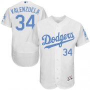 Wholesale Cheap Dodgers #34 Fernando Valenzuela White Flexbase Authentic Collection Father's Day Stitched MLB Jersey