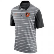 Wholesale Cheap Men's Baltimore Orioles Nike Gray Dri-FIT Stripe Polo