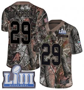 Wholesale Cheap Nike Rams #29 Eric Dickerson Camo Super Bowl LIII Bound Men\'s Stitched NFL Limited Rush Realtree Jersey