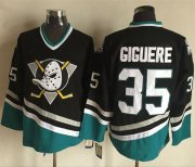 Wholesale Cheap Ducks #35 Jean-Sebastien Giguere Purple/Turquoise CCM Throwback Stitched NHL Jersey