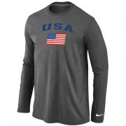 Wholesale Cheap USA Olympics USA Flag Collection Locker Room Long Sleeve T-Shirt Dakr Grey