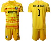 Wholesale Cheap Inter Milan #1 Handanovic Yellow Goalkeeper Soccer Club Jersey