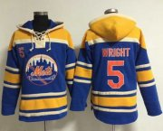 Wholesale Cheap Mets #5 David Wright Blue Sawyer Hooded Sweatshirt MLB Hoodie