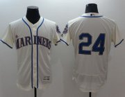 Wholesale Cheap Mariners #24 Ken Griffey Cream Flexbase Authentic Collection Stitched MLB Jersey