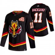 Wholesale Cheap Calgary Flames #11 Mikael Backlund Black Men's Adidas 2020-21 Reverse Retro Alternate NHL Jersey