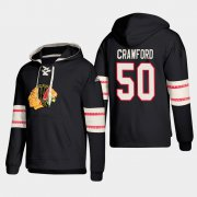 Wholesale Cheap Chicago Blackhawks #50 Corey Crawford Black adidas Lace-Up Pullover Hoodie