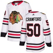 Wholesale Cheap Adidas Blackhawks #50 Corey Crawford White Road Authentic Stitched Youth NHL Jersey