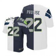 Wholesale Cheap Nike Seahawks #22 C. J. Prosise White/Steel Blue Men's Stitched NFL Elite Split Jersey