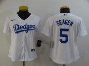 Wholesale Cheap Women's Los Angeles Dodgers #5 Corey Seager White Stitched MLB Cool Base Nike Jersey