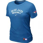 Wholesale Cheap Women's Toronto Blue Jays Nike Short Sleeve Practice MLB T-Shirt Indigo Blue