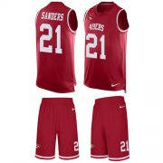 Wholesale Cheap Nike 49ers #21 Deion Sanders Red Team Color Men's Stitched NFL Limited Tank Top Suit Jersey