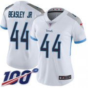 Wholesale Cheap Nike Titans #44 Vic Beasley Jr White Women's Stitched NFL 100th Season Vapor Untouchable Limited Jersey