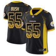 Wholesale Cheap Nike Steelers #55 Devin Bush Black Team Color Men's Stitched NFL Limited Rush Drift Fashion Jersey