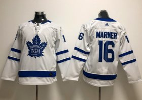 Wholesale Cheap Adidas Maple Leafs #16 Mitchell Marner White Road Authentic Stitched Youth NHL Jersey