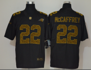 Wholesale Cheap Men's Carolina Panthers #22 Christian McCaffrey Black 2020 Nike Flocked Leopard Print Vapor Limited NFL Jersey